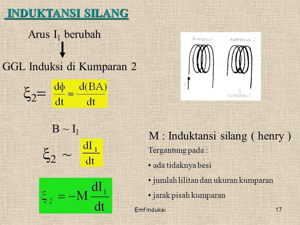Emf Induksi17 Arus I 1 berubah INDUKTANSI SILANG INDUKTANSI SILANG GGL Induksi di Kumparan 2 B ~ I 1  ~  M : Induktansi silang ( henry ) Ter