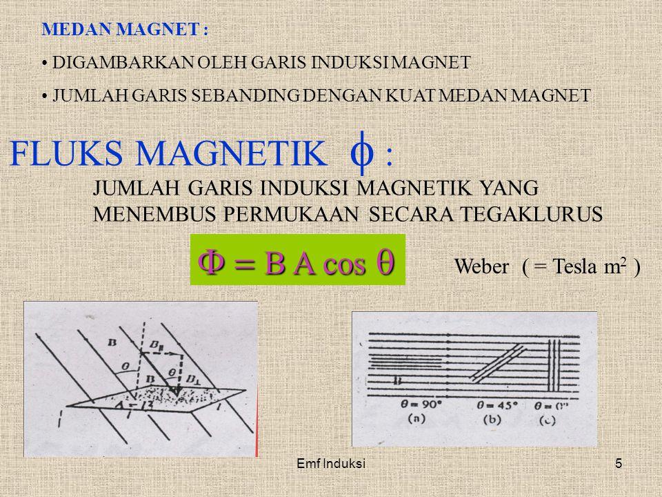 Emf Induksi5 MEDAN MAGNET : DIGAMBARKAN OLEH GARIS INDUKSI MAGNET JUMLAH GARIS SEBANDING DENGAN KUAT MEDAN MAGNET FLUKS MAGNETIK  : JUMLAH GARIS INDU