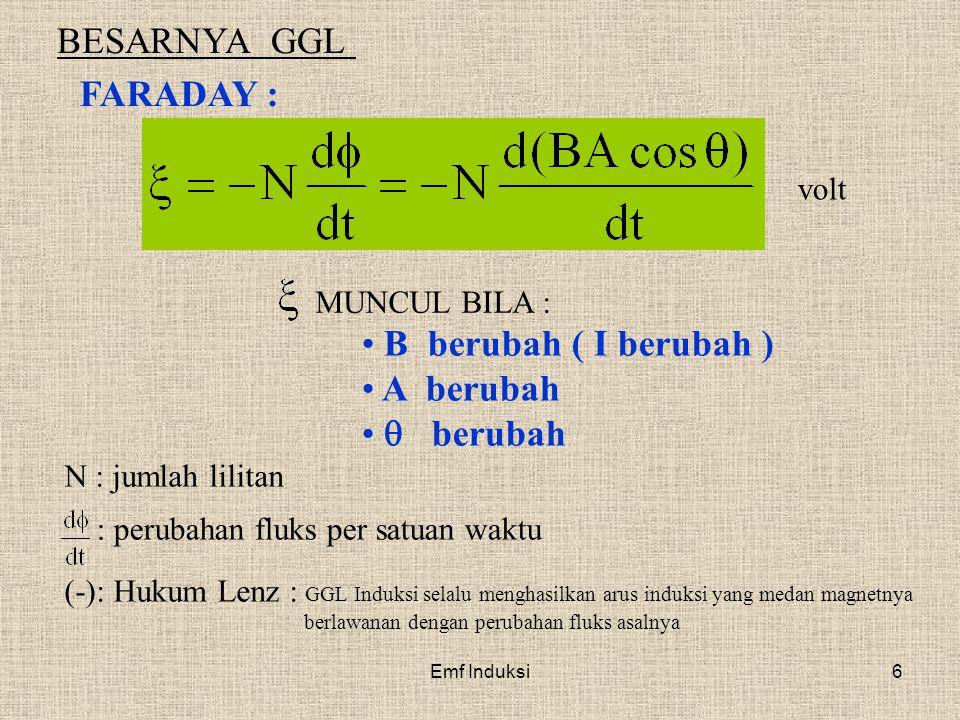 Emf Induksi6 BESARNYA GGL FARADAY : volt N : jumlah lilitan (-): Hukum Lenz : GGL Induksi selalu menghasilkan arus induksi yang medan magnetnya berlaw