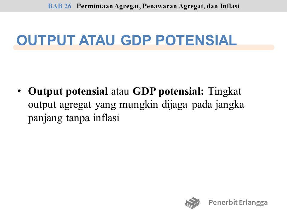 OUTPUT ATAU GDP POTENSIAL Output potensial atau GDP potensial: Tingkat output agregat yang mungkin dijaga pada jangka panjang tanpa inflasi BAB 26Perm