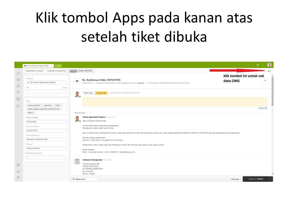 Klik tombol Apps pada kanan atas setelah tiket dibuka