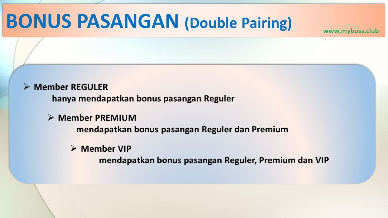  Member REGULER hanya mendapatkan bonus pasangan Reguler  Member PREMIUM mendapatkan bonus pasangan Reguler dan Premium  Member VIP mendapatkan bonus pasangan Reguler, Premium dan VIP BONUS PASANGAN (Double Pairing) www.myboss.club