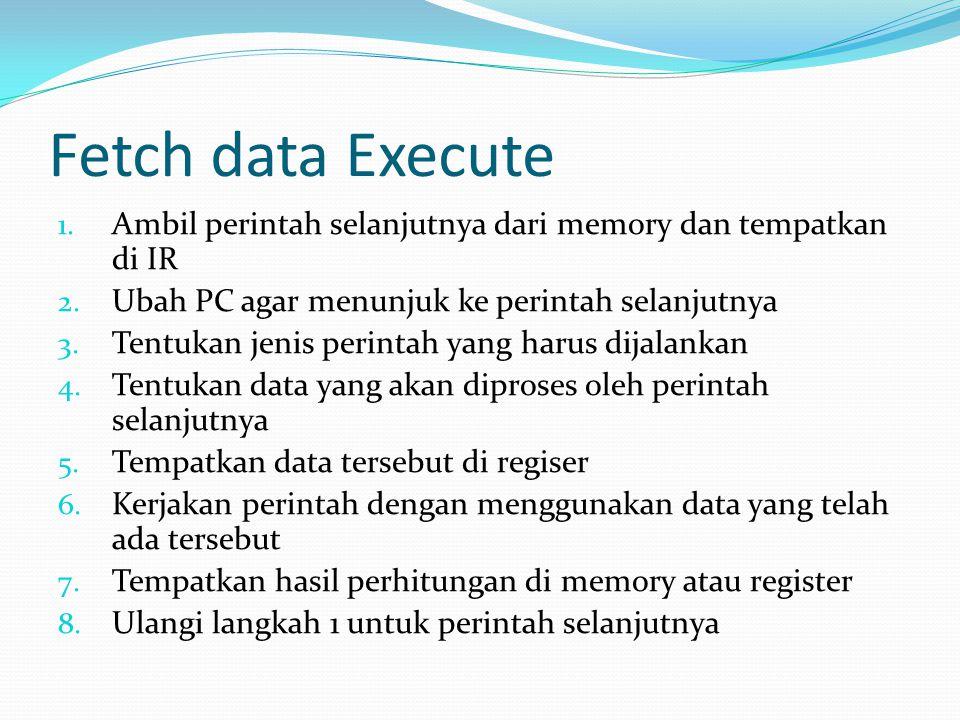Fetch data Execute 1. Ambil perintah selanjutnya dari memory dan tempatkan di IR 2. Ubah PC agar menunjuk ke perintah selanjutnya 3. Tentukan jenis pe