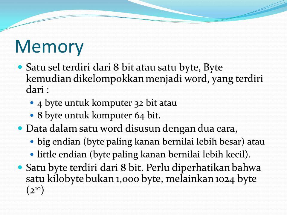 Memory Satu sel terdiri dari 8 bit atau satu byte, Byte kemudian dikelompokkan menjadi word, yang terdiri dari : 4 byte untuk komputer 32 bit atau 8 b