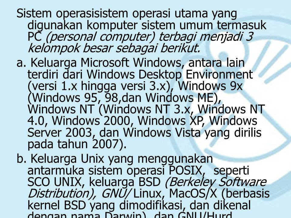 Sistem operasisistem operasi utama yang digunakan komputer sistem umum termasuk PC (personal computer) terbagi menjadi 3 kelompok besar sebagai berikut.