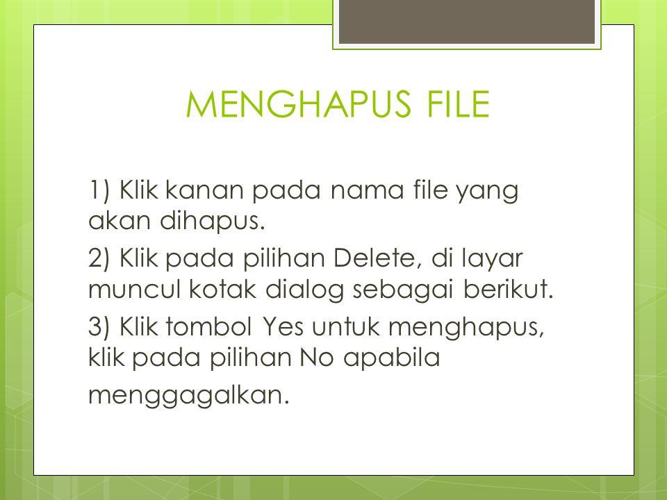 MENGHAPUS FILE 1) Klik kanan pada nama file yang akan dihapus. 2) Klik pada pilihan Delete, di layar muncul kotak dialog sebagai berikut. 3) Klik tomb