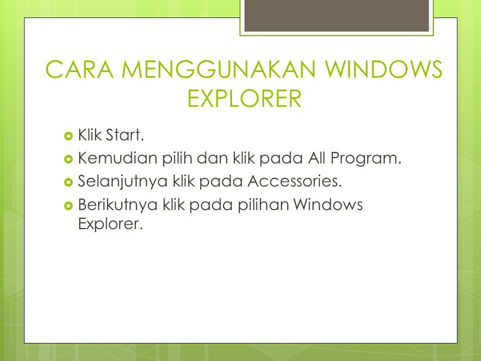 CARA MENGGUNAKAN WINDOWS EXPLORER  Klik Start.  Kemudian pilih dan klik pada All Program.  Selanjutnya klik pada Accessories.  Berikutnya klik pad