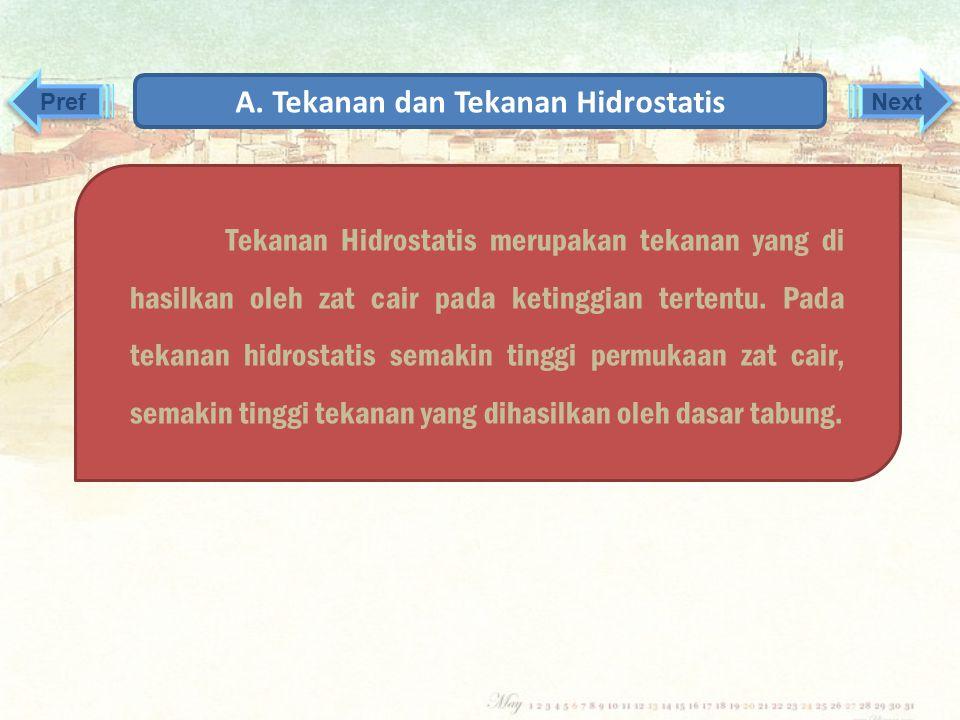 A. Tekanan dan Tekanan Hidrostatis 2. Tekanan Hidrostatik Pref Next