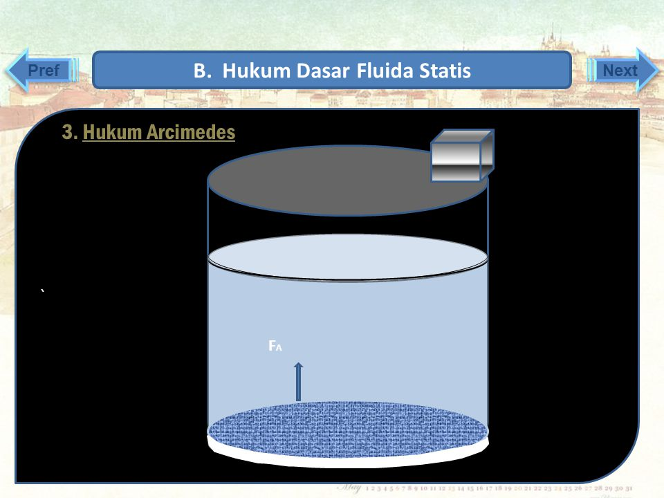 ` ` Karena tekanannya sama ke segala arah, maka didapatkan persamaan sebagai berikut: P1 = P2 F 1 : A 1 = F 2 : A 2 F 1 = (A 1 : A 2 ). F 2 Jika penam
