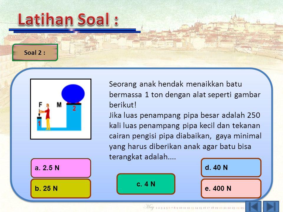Soal 1 : Sebuah besi yang volumenya 0,02 m³ tercelup seluruhnya di dalam air. Jika massa jenis air 10³ kg/m³, maka gaya ke atas yang dialami besi ters