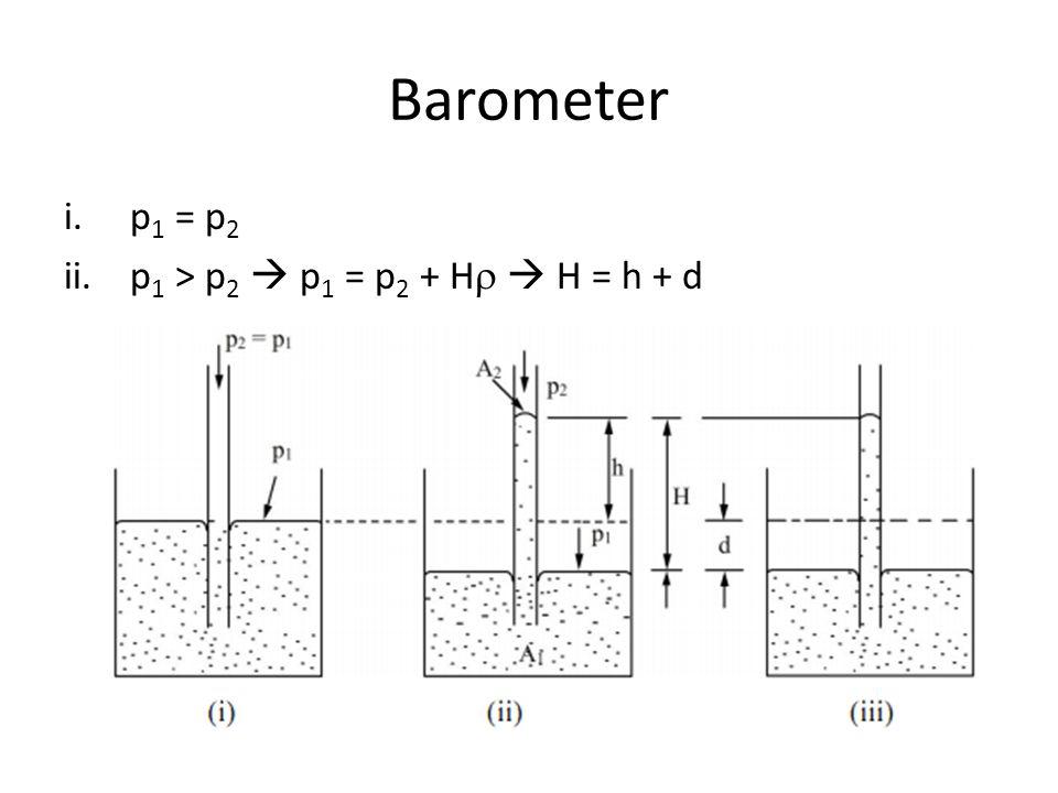 Barometer i.p 1 = p 2 ii.p 1 > p 2  p 1 = p 2 + H   H = h + d