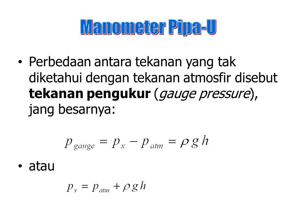 Perbedaan antara tekanan yang tak diketahui dengan tekanan atmosfir disebut tekanan pengukur (gauge pressure), jang besarnya: atau