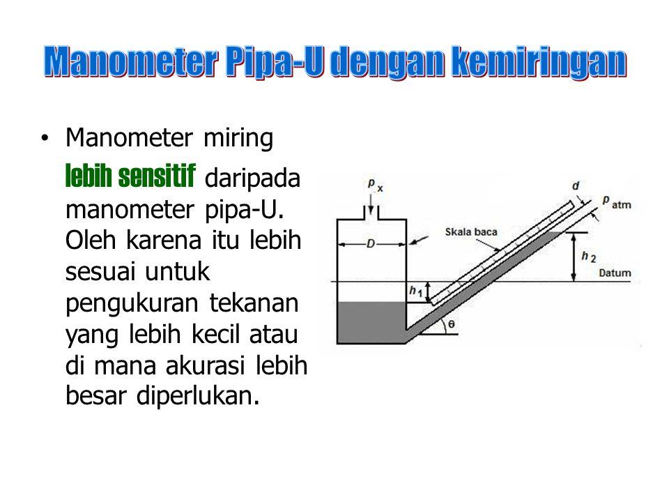 Manometer miring lebih sensitif daripada manometer pipa-U. Oleh karena itu lebih sesuai untuk pengukuran tekanan yang lebih kecil atau di mana akurasi