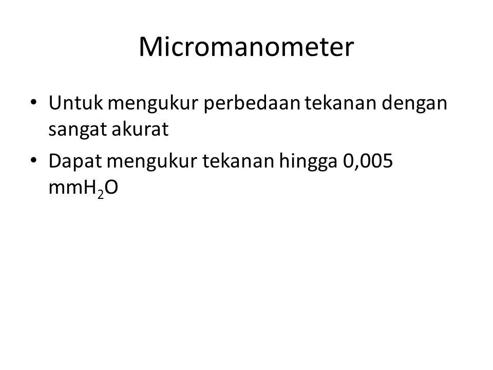 Micromanometer Untuk mengukur perbedaan tekanan dengan sangat akurat Dapat mengukur tekanan hingga 0,005 mmH 2 O