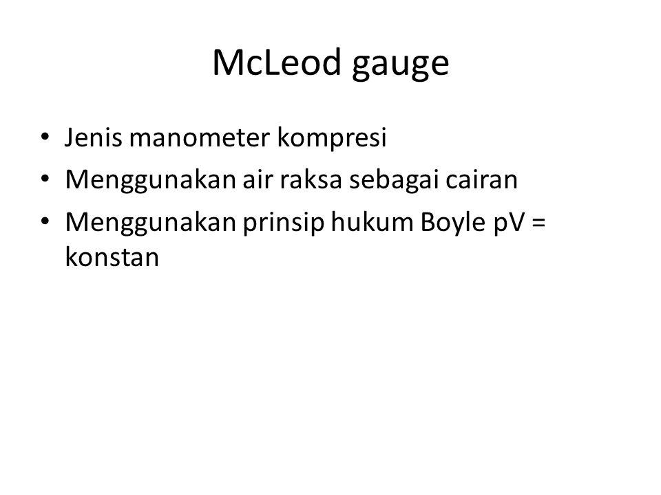 McLeod gauge Jenis manometer kompresi Menggunakan air raksa sebagai cairan Menggunakan prinsip hukum Boyle pV = konstan