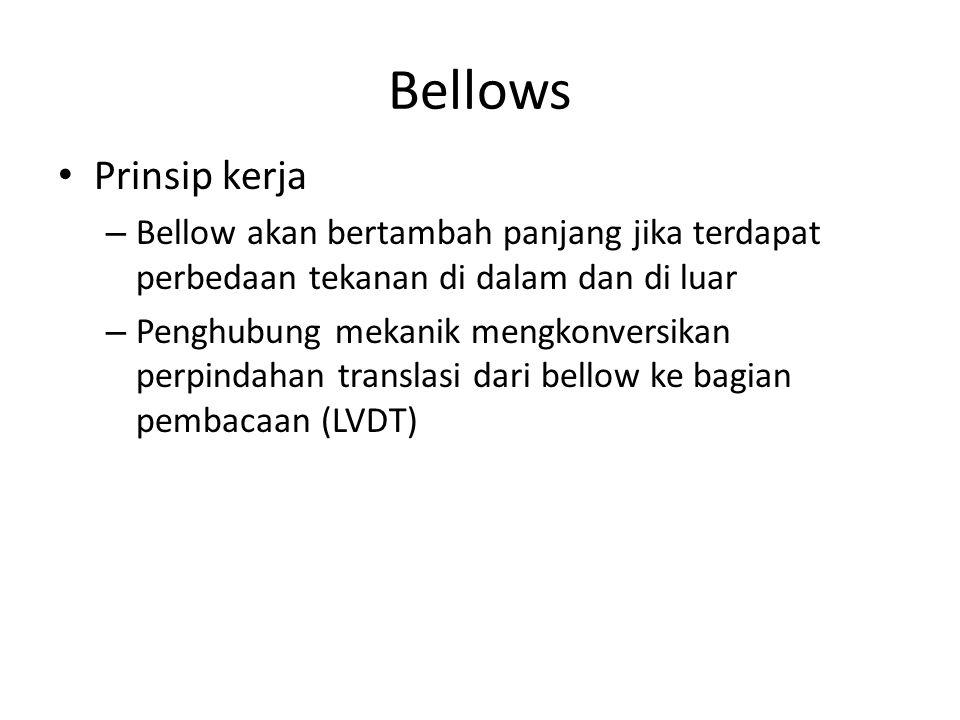 Bellows Prinsip kerja – Bellow akan bertambah panjang jika terdapat perbedaan tekanan di dalam dan di luar – Penghubung mekanik mengkonversikan perpin