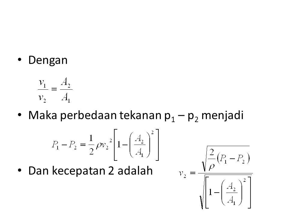 Dengan Maka perbedaan tekanan p 1 – p 2 menjadi Dan kecepatan 2 adalah