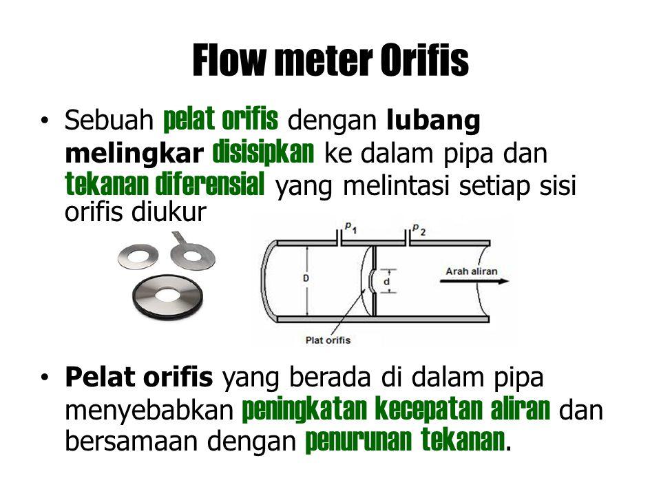 Flow meter Orifis Sebuah pelat orifis dengan lubang melingkar disisipkan ke dalam pipa dan tekanan diferensial yang melintasi setiap sisi orifis diuku