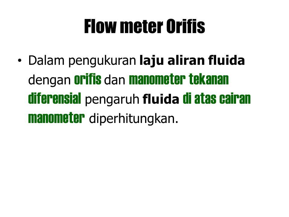 Flow meter Orifis Dalam pengukuran laju aliran fluida dengan orifis dan manometer tekanan diferensial pengaruh fluida di atas cairan manometer diperhi