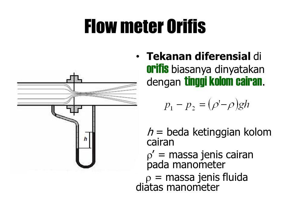 Flow meter Orifis Tekanan diferensial di orifis biasanya dinyatakan dengan tinggi kolom cairan. h = beda ketinggian kolom cairan  ' = massa jenis cai