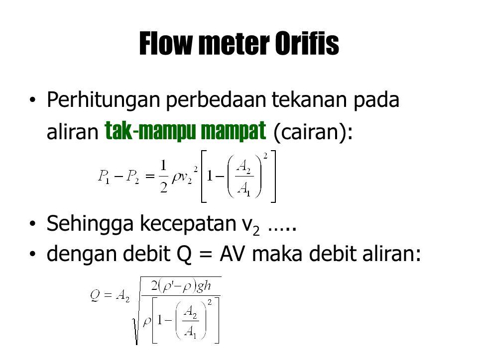 Flow meter Orifis Perhitungan perbedaan tekanan pada aliran tak-mampu mampat (cairan): Sehingga kecepatan v 2 ….. dengan debit Q = AV maka debit alira