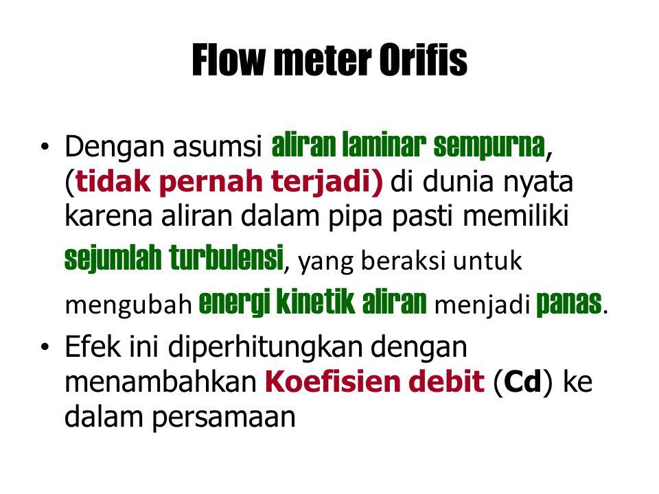 Flow meter Orifis Dengan asumsi aliran laminar sempurna, (tidak pernah terjadi) di dunia nyata karena aliran dalam pipa pasti memiliki sejumlah turbul