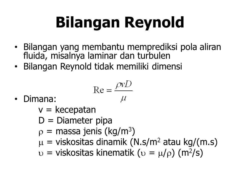 Bilangan Reynold Bilangan yang membantu memprediksi pola aliran fluida, misalnya laminar dan turbulen Bilangan Reynold tidak memiliki dimensi Dimana: