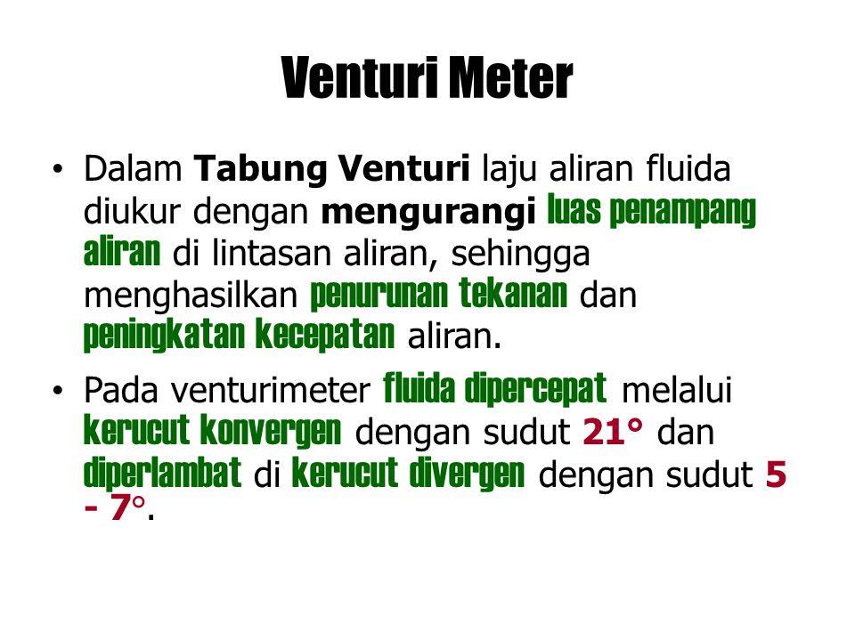 Venturi Meter Dalam Tabung Venturi laju aliran fluida diukur dengan mengurangi luas penampang aliran di lintasan aliran, sehingga menghasilkan penurun