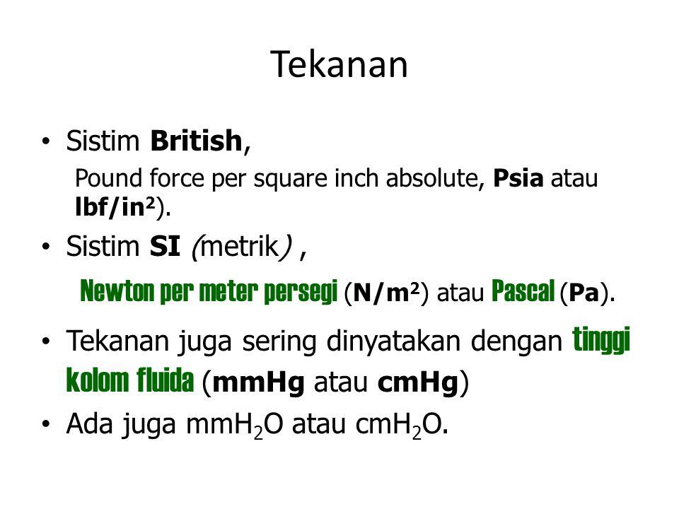 Tekanan Sistim British, Pound force per square inch absolute, Psia atau lbf/in 2 ). Sistim SI (metrik), Newton per meter persegi (N/m 2 ) atau Pascal