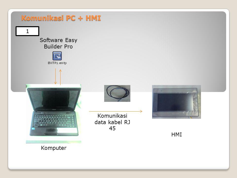 Komunikasi PC + HMI Software Easy Builder Pro Komunikasi data kabel RJ 45 HMI Komputer 1