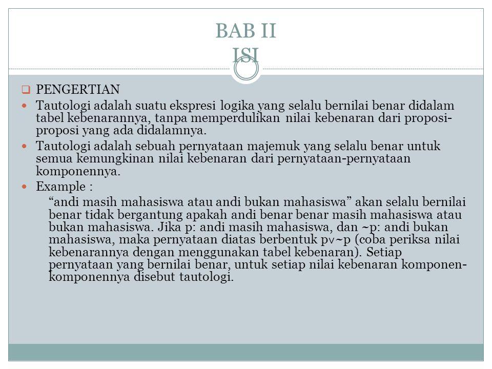 BAB II ISI  PENGERTIAN Tautologi adalah suatu ekspresi logika yang selalu bernilai benar didalam tabel kebenarannya, tanpa memperdulikan nilai kebena