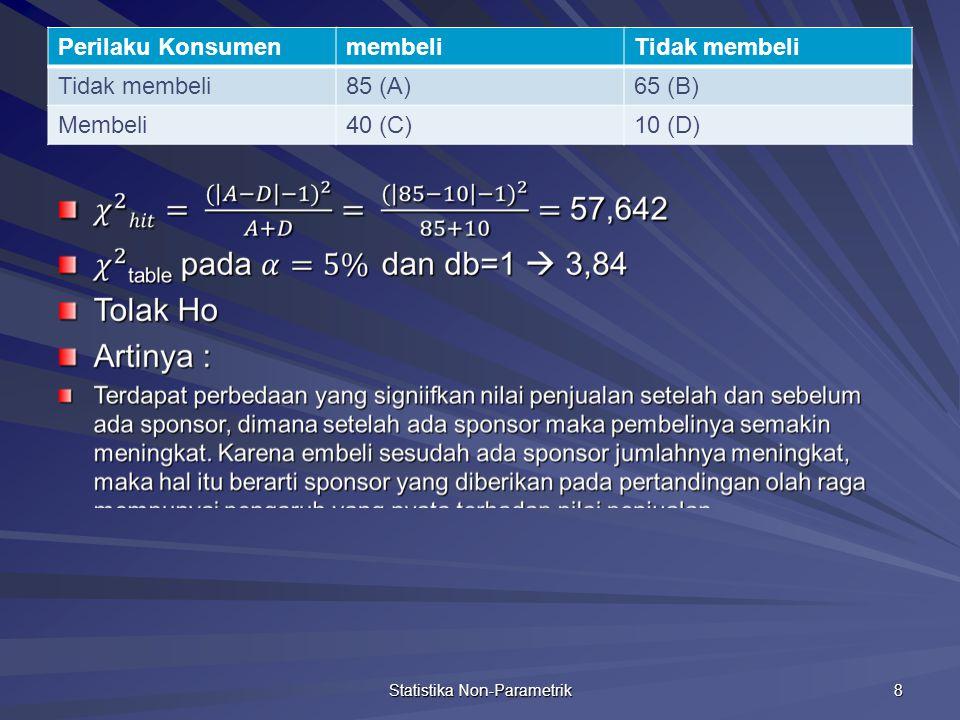 Uji Chi Square untuk 2 sample independen Statistika Non-Parametrik 9