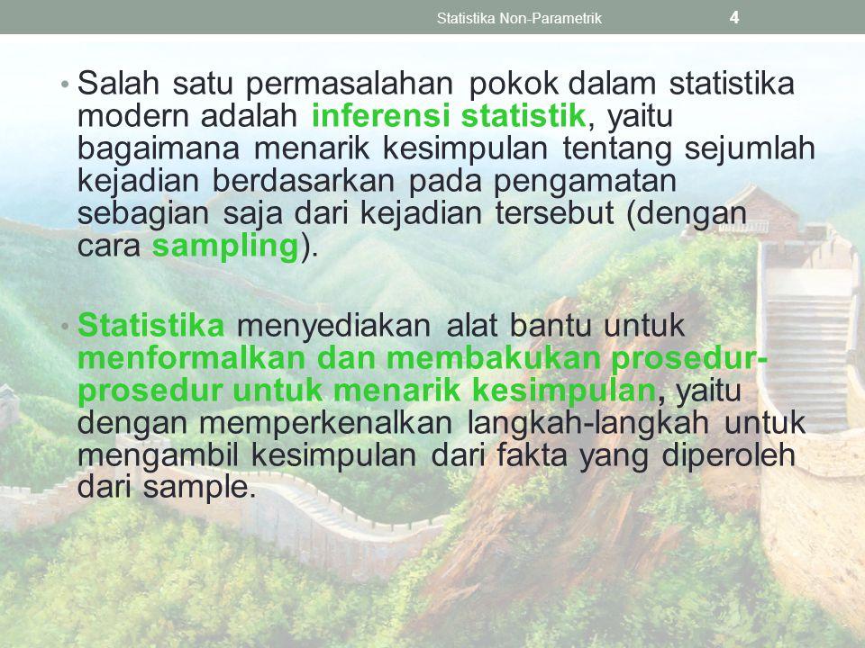 Salah satu permasalahan pokok dalam statistika modern adalah inferensi statistik, yaitu bagaimana menarik kesimpulan tentang sejumlah kejadian berdasarkan pada pengamatan sebagian saja dari kejadian tersebut (dengan cara sampling).