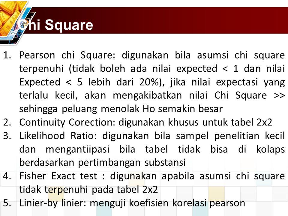 Chi Square 1.Pearson chi Square: digunakan bila asumsi chi square terpenuhi (tidak boleh ada nilai expected > sehingga peluang menolak Ho semakin besa