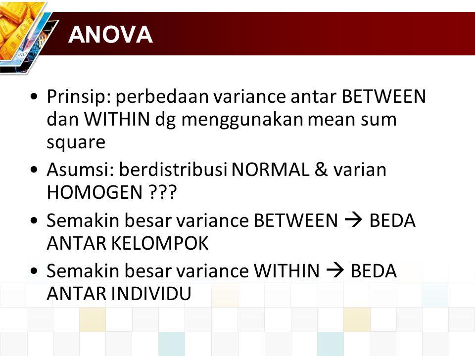 ANOVA Prinsip: perbedaan variance antar BETWEEN dan WITHIN dg menggunakan mean sum square Asumsi: berdistribusi NORMAL & varian HOMOGEN ??.