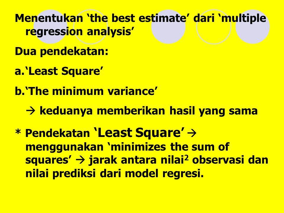 Menentukan 'the best estimate' dari 'multiple regression analysis' Dua pendekatan: a.'Least Square' b.'The minimum variance'  keduanya memberikan hasil yang sama * Pendekatan 'Least Square'  menggunakan 'minimizes the sum of squares'  jarak antara nilai 2 observasi dan nilai prediksi dari model regresi.