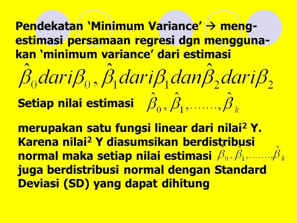Pendekatan 'Minimum Variance'  meng- estimasi persamaan regresi dgn mengguna- kan 'minimum variance' dari estimasi Setiap nilai estimasi merupakan satu fungsi linear dari nilai 2 Y.