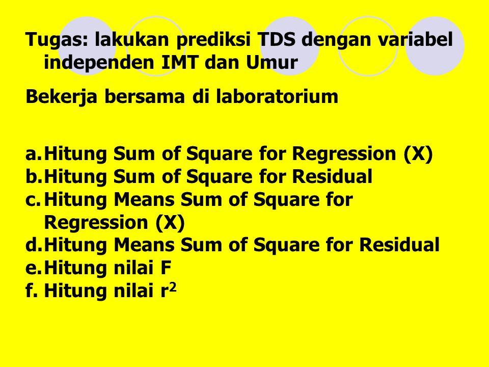 Tugas: lakukan prediksi TDS dengan variabel independen IMT dan Umur Bekerja bersama di laboratorium a.Hitung Sum of Square for Regression (X) b.Hitung Sum of Square for Residual c.Hitung Means Sum of Square for Regression (X) d.Hitung Means Sum of Square for Residual e.Hitung nilai F f.Hitung nilai r 2