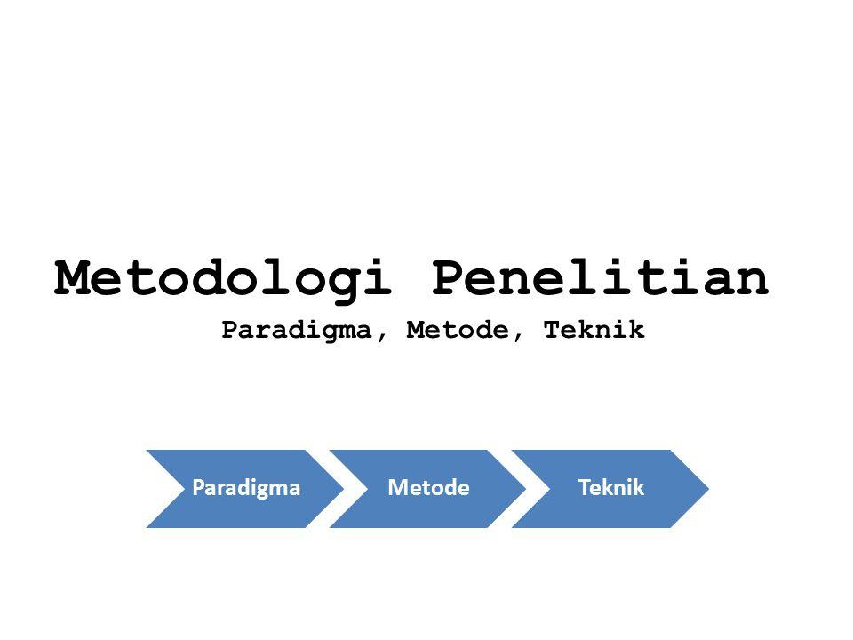 Metodologi Penelitian Paradigma, Metode, Teknik ParadigmaMetodeTeknik