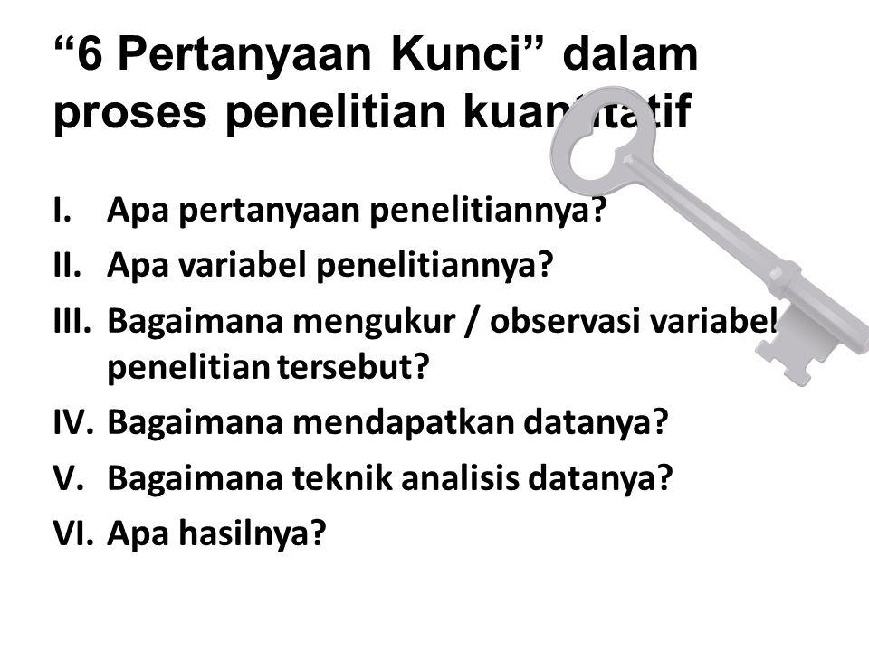 """6 Pertanyaan Kunci"" dalam proses penelitian kuantitatif I.Apa pertanyaan penelitiannya? II.Apa variabel penelitiannya? III.Bagaimana mengukur / obser"
