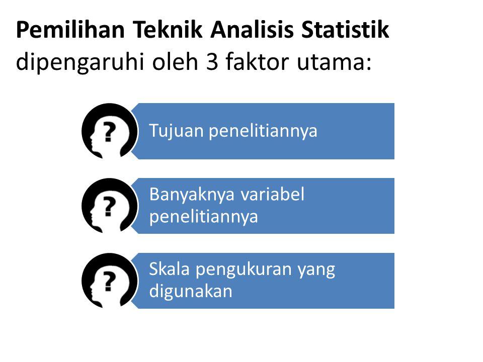 Pemilihan Teknik Analisis Statistik dipengaruhi oleh 3 faktor utama: Tujuan penelitiannya Banyaknya variabel penelitiannya Skala pengukuran yang digun