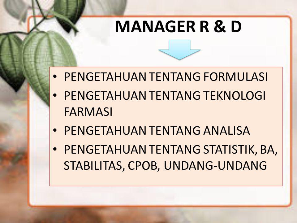 MANAGER R & D PENGETAHUAN TENTANG FORMULASI PENGETAHUAN TENTANG TEKNOLOGI FARMASI PENGETAHUAN TENTANG ANALISA PENGETAHUAN TENTANG STATISTIK, BA, STABI