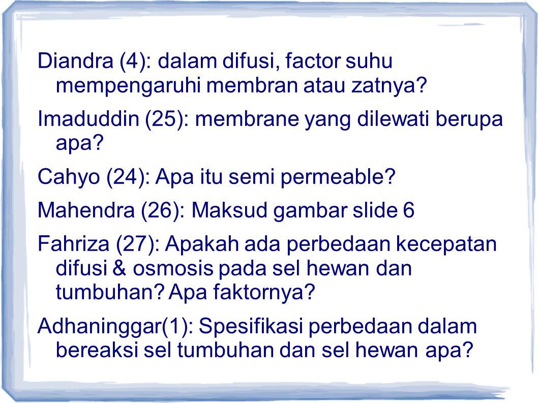 Diandra (4): dalam difusi, factor suhu mempengaruhi membran atau zatnya? Imaduddin (25): membrane yang dilewati berupa apa? Cahyo (24): Apa itu semi p