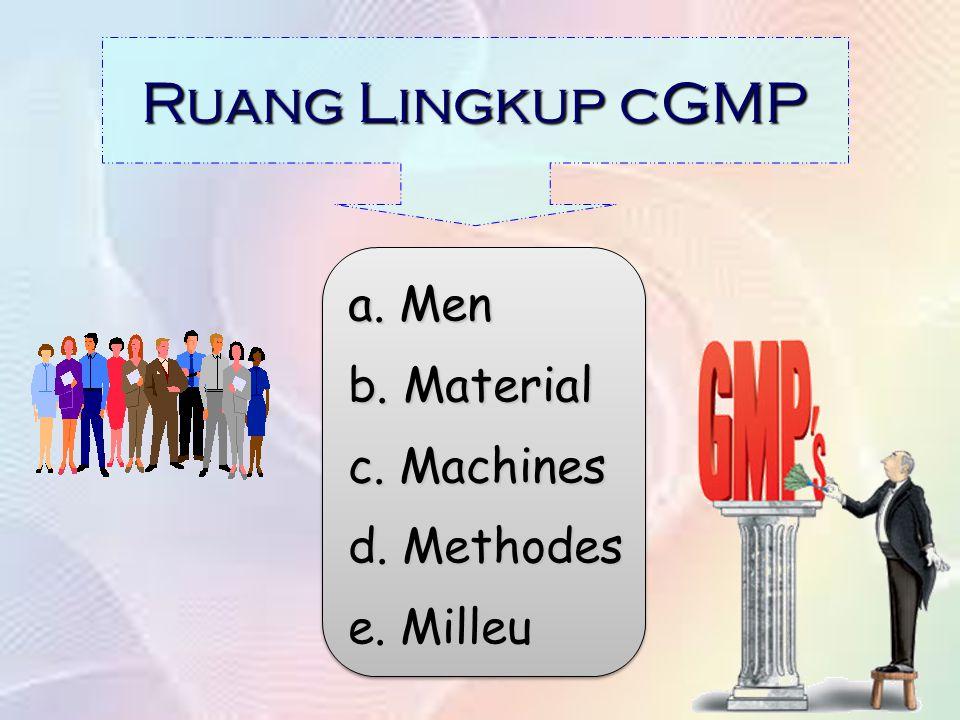 Ruang Lingkup cGMP a. Men b. Material c. Machines d. Methodes e. Milleu a. Men b. Material c. Machines d. Methodes e. Milleu