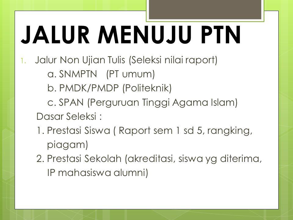 JALUR MENUJU PTN 1. Jalur Non Ujian Tulis (Seleksi nilai raport) a. SNMPTN (PT umum) b. PMDK/PMDP (Politeknik) c. SPAN (Perguruan Tinggi Agama Islam)