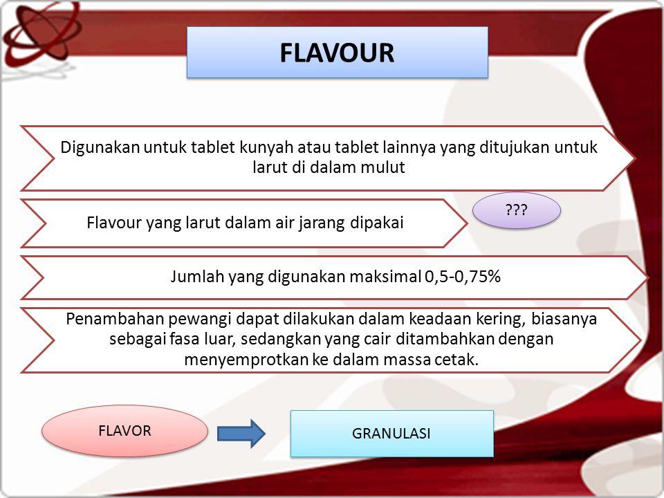 Digunakan untuk tablet kunyah atau tablet lainnya yang ditujukan untuk larut di dalam mulut Flavour yang larut dalam air jarang dipakai Jumlah yang digunakan maksimal 0,5-0,75% Penambahan pewangi dapat dilakukan dalam keadaan kering, biasanya sebagai fasa luar, sedangkan yang cair ditambahkan dengan menyemprotkan ke dalam massa cetak.