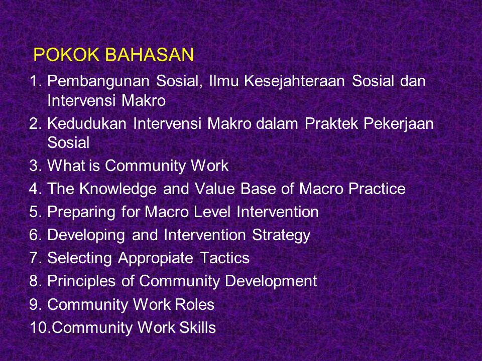 POKOK BAHASAN 1.Pembangunan Sosial, Ilmu Kesejahteraan Sosial dan Intervensi Makro 2.Kedudukan Intervensi Makro dalam Praktek Pekerjaan Sosial 3.What