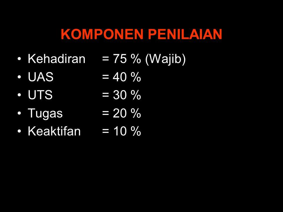 KOMPONEN PENILAIAN Kehadiran = 75 % (Wajib) UAS= 40 % UTS= 30 % Tugas= 20 % Keaktifan= 10 %