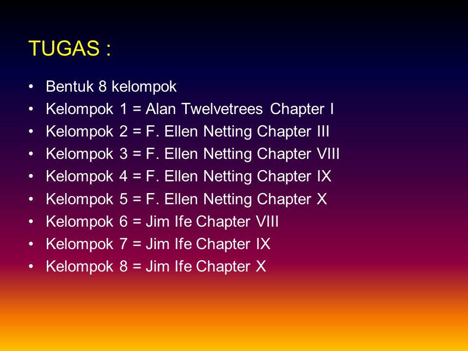 TUGAS : Bentuk 8 kelompok Kelompok 1 = Alan Twelvetrees Chapter I Kelompok 2 = F. Ellen Netting Chapter III Kelompok 3 = F. Ellen Netting Chapter VIII