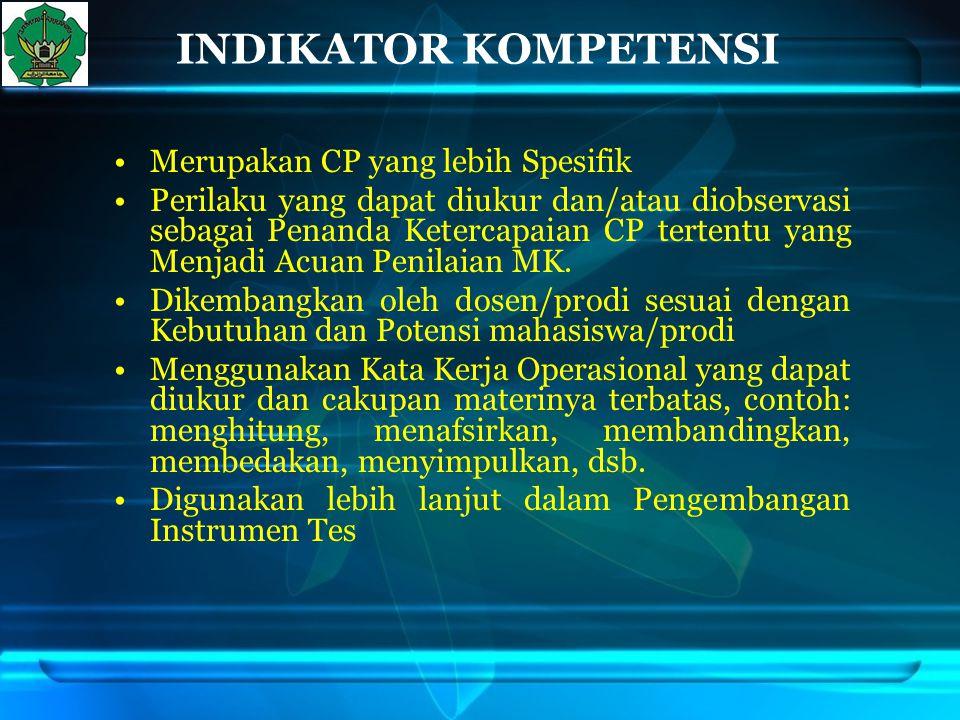 INDIKATOR KOMPETENSI Merupakan CP yang lebih Spesifik Perilaku yang dapat diukur dan/atau diobservasi sebagai Penanda Ketercapaian CP tertentu yang Me